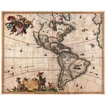 Lienzo Tela Mapa Continente América 1658 50 X 63 Cm Raro