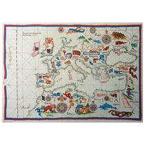 Lienzo Tela Mapa Europa Y Norte De Africa 1563 50 X 72 Cm