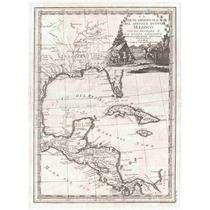 Lienzo Tela Mapa Cuba América Central Florida 1798 Poster