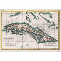 Lienzo Tela Mapa Isla Cuba 1780 50 X 72 Cm Cartografía