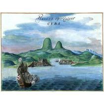 Lienzo Tela Mapa Entrada Puerto De La Habana 1639 50 X 65 Cm