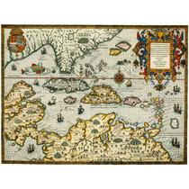 Lienzo Tela Mapa Indias Occidentales Año 1594 Frankfurt