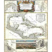 Lienzo Tela Mapa Florida E Indias Occidentales 1737 59x50cm