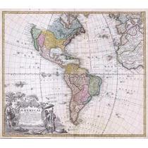 Lienzo Tela Mapa Antiguo, Continente Americano, 80 X 85 Cm.