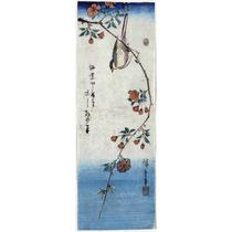 Lienzo Tela Escuela Utagawa Pájaro Rama Flores Japón 90x32cm