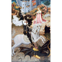 Lienzo Tela San Jorge Matando Al Dragón Arte Sacro 50 X 90cm