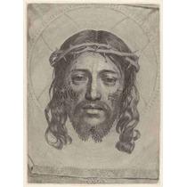 Lienzo Tela Grabado En Madera Rostro Cristo Año 1649 67x50cm