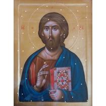Lienzo Tela Cristo Pantócrato Todopoderoso Arte Sacro 50x70
