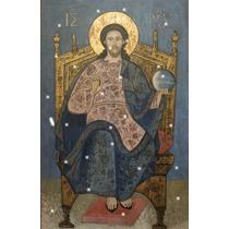 Lienzo Tela Cristo Pantócrato Todopoderoso Arte Sacro 50x75
