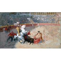 Lienzo Tauromaquia Toros Fiesta Brava Enrique Simonet 1899