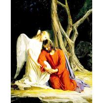 Lienzo En Tela. Jesús Con Ángel. 55 X 70 Cm.