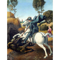 Lienzo Tela San Jorge Y El Dragón Arte Sacro Rafael 1506