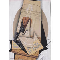 Lienzo Tela Composición Con Violín Juan Gris Cubismo 73 X 50