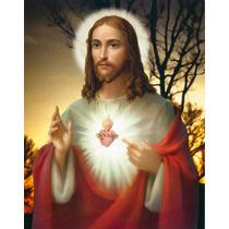 Lienzo En Tela. Sagrado Corazón De Jesús. 55 X 70 Cm.