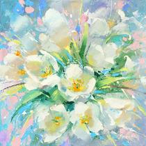 White Tulips - Cuadros, Pinturas Al Oleo De Dmitry Spiros
