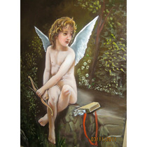 Hermoso Óleo Cupido Flechando Al Amor Bbf