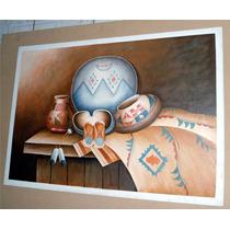 Pintura Al Óleo: Artesanías Indígenas 60 X 90 Cm Maa