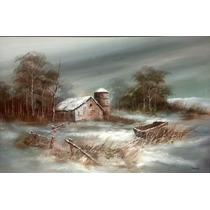 Davis Pintura Al Oleo Firmada Paisaje De Galpon Nevado