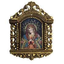 Retablo En Madera De Cedro Con Oleo De La Virgen