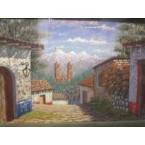 Pueblo,óleo Sobre Lienzo,original, 15x20 Cm.c/marco Rústico