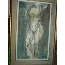 Precioso Cuadro Al Óleo. Antiguo. Desnudo