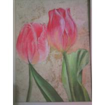 Tulipanes, Óleo Sobre Papel Amate,20x15 Cm.con Marco Rústico