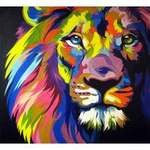 Pintura Al Oleo, León, Pop, Arte Moderno, Cuadro, Multicolor