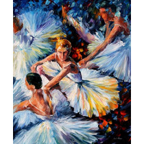 Before Perform - Pintura Óleo Maestro Leonid Afremov, Ballet