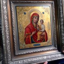 Antiguo Icono Pintura De La Virgen Con Niño Dios, Óleo En
