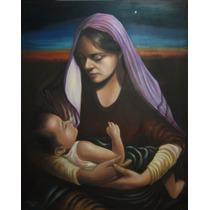 Oleo Pintura Genuina, Original, La Virgen Del Alba, Cuadro