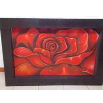 Cuadro Con Rosa Roja Pintada Al Oleo