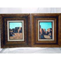 Pinturas De Óleo Antiguas Con Marco Firmadas Pueblo Arizona