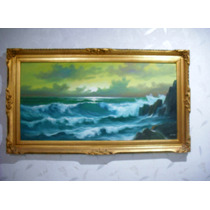 Elegante Cuadro De Mar Y Marco Fino En Hoja De Oro, Arte