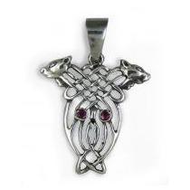 Amuleto Celta Dije Colgante Buho Y Lobos Plata Y Rubi