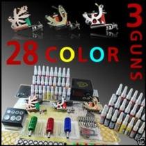 Kit Tatuar 3 Maquinas Profesionales 28 Tintas Tatuajes Bfn