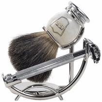 Kit Para Afeitar Rasurar Brocha Barbero Hombre Navaja Parker