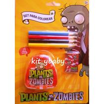 Fiesta De Plantas Vs Zombies, Set Para Colorear, Premio