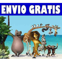 2x1 Kit Imprimible Madagascar Tarjetas Cumples Golosinas
