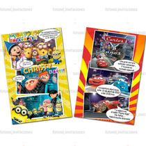 Invitaciones Infantiles Tipo Comic (tamaño Foto 4 X 6)