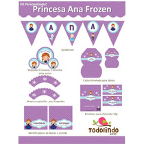 Kit Imprimible Cute Princesa Ana Frozen Personalizado Olaf