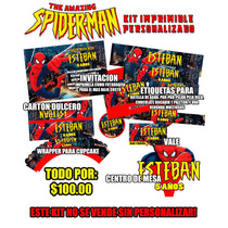 Spiderman Kit Imprimible Invitaciones Etiquetas Y Mas!
