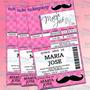 Invitaciones Xv Años-zebra Print-mustache-bigote-ticket