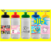 10 Cilindro Dulcero Personalizado 1 Litro Cumpleaños Piñata