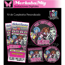 Kit De Cumpleaños Monster High Imprimelo Tu!!