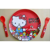 Fiesta De Hello Kitty, Plato De Melamina Y Cubiertos