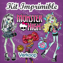 Kit Imprimible Monster High Marcos Tarjetas Invitaciones Mas