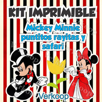 Kit Imprimible Mickey Y Minnie Mouse Safari Puntos Y Rayas