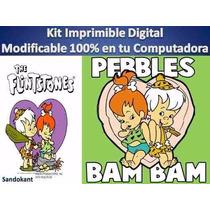 Kit Imprimible Pebles Y Bam Bam Fiesta Cumpleaños Torta Bebe