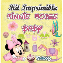 Kit Imprimible Minnie Mouse Bebe Baby Invitaciones Fiesta Mx