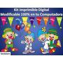 Kit Imprimible Candy Bar Payasitos De Circo Cumpleaños Torta